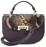 Aspinal of London Letterbox Saddle Bag In Smooth Dark Brown Tan Snake Print