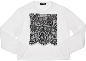 DSQUARED2 Cotton Sweatshirt W/ Lace Insert