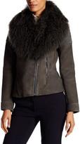 Zac Posen Hazel Leather & Genuine Mongolian Lamb Fur Jacket