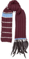 Prada Feather And Bead-trimmed Striped Wool Scarf - Burgundy