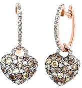 Naava Women's 9 ct Rose Gold 1.10ct Brown and White Diamonds Filled, Heart Drop Earrings