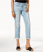 Style&Co. Style & Co Printed Miami Bloom Blue Wash Boyfriend Jeans, Only at Macy's