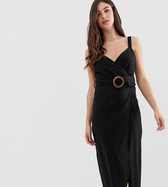 Asos Tall DESIGN Tall wrap maxi dress with buckle belt