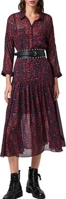 AllSaints Eley Plume Midi Dress