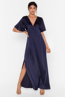 Nasty Gal Womens We Didn't V You There Satin Maxi Dress - Navy - 10
