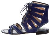 Manolo Blahnik Suede Lace-Up Sandals