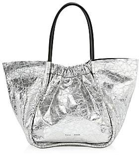 Proenza Schouler Women's Extra-Large Ruched Crinkled Metallic Leather Tote