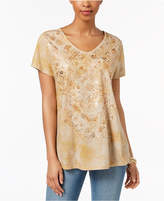 Style&Co. Style & Co Foil-Print High-Low T-Shirt, Created for Macy's