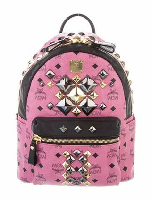 MCM Small Visetos Stark Backpack Pink