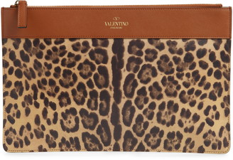 Valentino Large City Safari Flat Leather Pouch