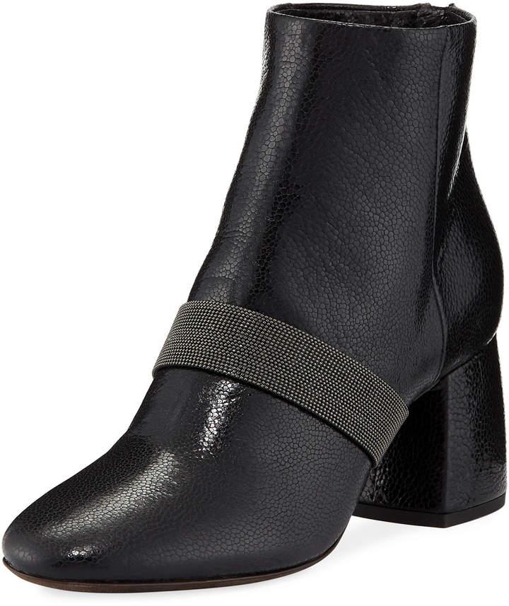 Brunello Cucinelli Shiny Leather Block-Heel Zip Booties with Monili