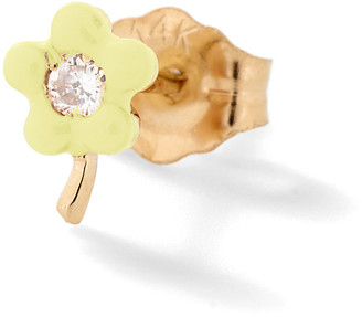 Alison Lou Light Yellow Small Flower Stud Earring - Yellow Gold