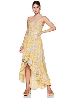 Oasis Wild Women's Floral Printed Dress with Spaghetti Straps and Ruffled Bottom (