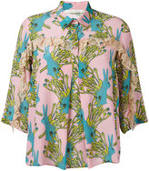 L'Autre Chose printed ruffle trim shirt - women - Silk - 40