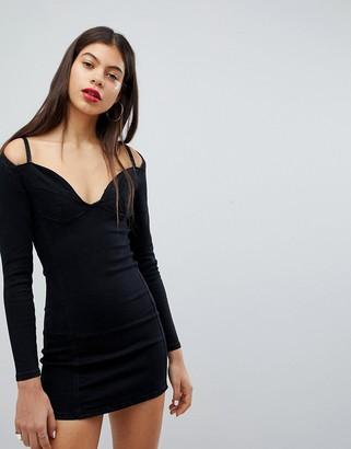 N. Liquor Poker Denim Bralet Detail Dress-Black