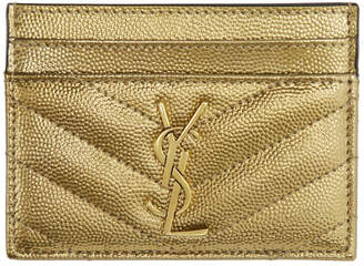 Saint Laurent Gold Monogramme Card Holder