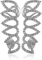 Noir Pave Leaf Rhodium Ear Cuffs