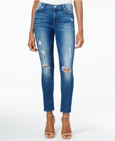 7 For All Mankind Ripped Skinny Ankle Jeans