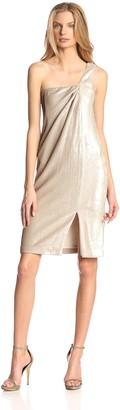 Halston Women's Sequin One-Shoulder Twist Drape Dress