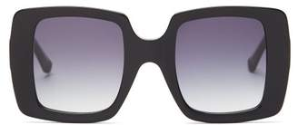 Karen Walker Isadore Oversized Square Acetate Sunglasses - Womens - Black