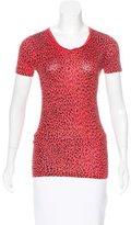 Saint Laurent Leopard Print Short Sleeve Top