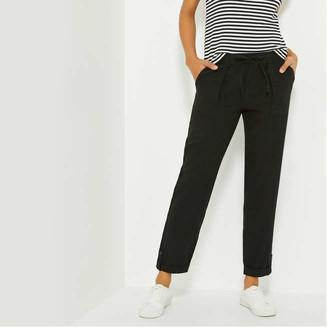Joe Fresh Women's Roll Cuff Linen Pants, JF Black (Size S)