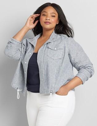 Lane Bryant Striped Linen Shirt Jacket