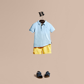Burberry Check Placket Polo Shirt , Size: 12y, Blue