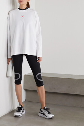 adidas by Stella McCartney Perforated Organic Cotton And Primegreen-blend Jersey Top