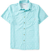 Columbia PFG Super Slack Tide Fish Novelty Print Short-Sleeve Camp Shirt