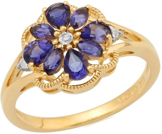 Ivy Gems Gold Plated Sterling Silver Iolite and Diamond Floral Cluster Ring Size - L