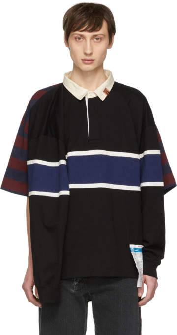 Miharayasuhiro Black Four Sleeves Rugby Polo