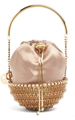 Rosantica Kingham Crystal And Satin Bag - Womens - Brown Multi