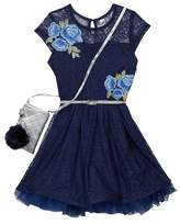 Beautees Belted Embroidered Lace Yoke Dress with Accessory Bag (Big Girls)