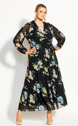 City Chic Fair Floral Maxi Dress - black