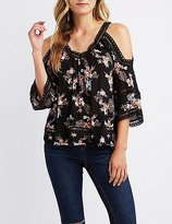 Charlotte Russe Floral Crochet-Trim Cold Shoulder Top