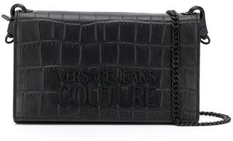 Versace Embossed Croc-Effect Cross Body Bag