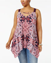 Eyeshadow Trendy Plus Size Handkerchief-Hem Tank Top