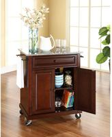 Crosley 28-1/4 in. W Solid Granite Top Mobile Kitchen Island Cart in Mahogany
