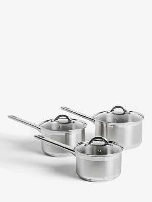 John Lewis & Partners Classic Glass Lid Stainless Steel Saucepan Set, 3 Pieces