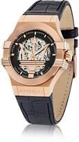 Maserati Potenza Auto Black Dial and Leather Strap Rose Gold Tone Men's Watch