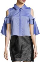 Milly Paris Cold-Shoulder Cropped Shirting Top, Denim