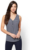 New York & Co. Zip-Front V-Neck Shell - Stripe