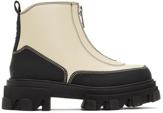 Ganni Black and Off-White Polido Zip Boots