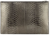 Tom Ford Metallic Python Zip Pouch, Anthracite