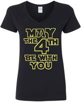 City Shirts V-Neck Ladies May The 4th Be With You Movie TV Funny Parody T-Shirt Tee