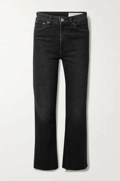 Thumbnail for your product : Rag & Bone Nina Cropped High-rise Flared Jeans - Black