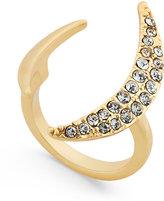 ABS by Allen Schwartz Gold-Tone Dark Horse Pavé Crescent Ring
