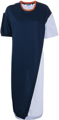Sjyp poplin-panelled T-shirt dress