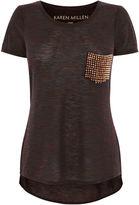 Karen Millen Studded Pocket T-shirt - Orange